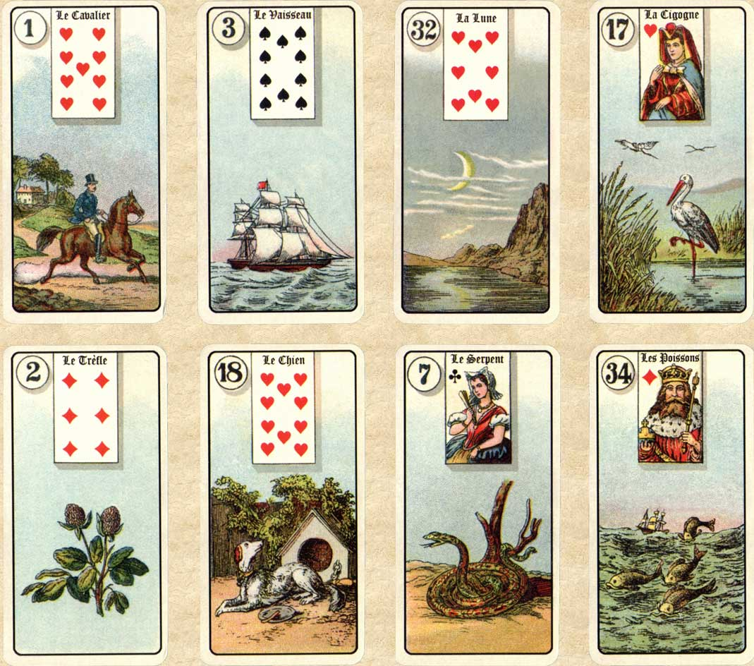 jeu lenormand version antique de poche